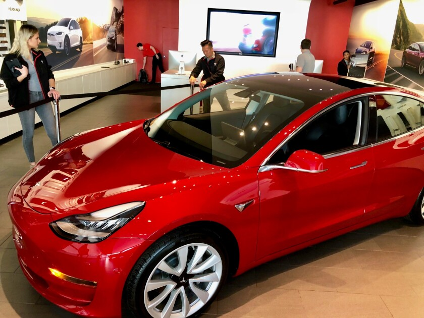 The Tesla Model 3 on display at the Telsa showroom at Wesfield UTC in January 2018.