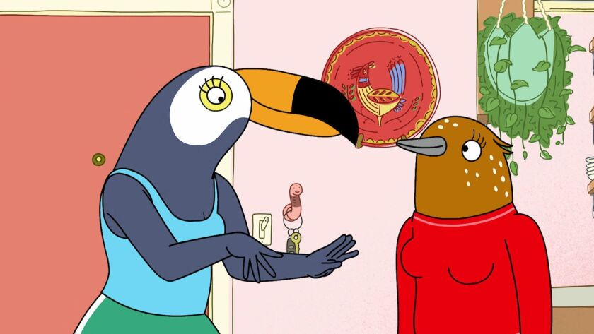 """Tuca & Bertie,"" from Lisa Hanawalt, are two birds with some very human concerns."