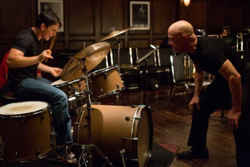 """Miles Teller, left, and J.K. Simmons in """"Whiplash."""""""