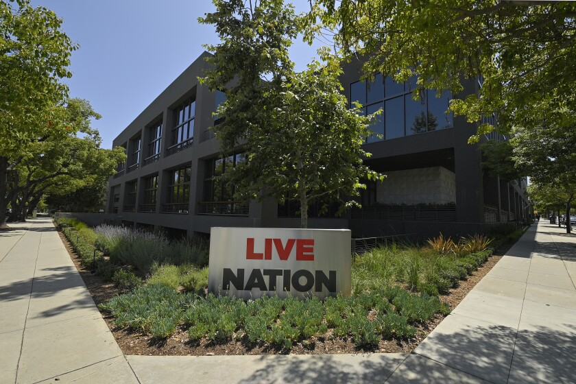 """The headquarters of Live Nation is viewed Monday, June 29, 2020, in Beverly Hills, Calif. America's nightclubs are largely closed because of the coronavirus pandemic, but that isn't stopping an interfaith coalition from launching a campaign to stop what organizers call the """"disrespectful"""" use of Buddhist and Hindu statues as upscale decor. Representatives of the Buddhist, Hindu, Jain, Jewish and Christian traditions have formed an improbable alliance to end the practice, starting with upmarket clubs in Boston and other cities that are managed by Live Nation, a Beverly Hills, California-based entertainment conglomerate. (AP Photo/Mark J. Terrill)"""