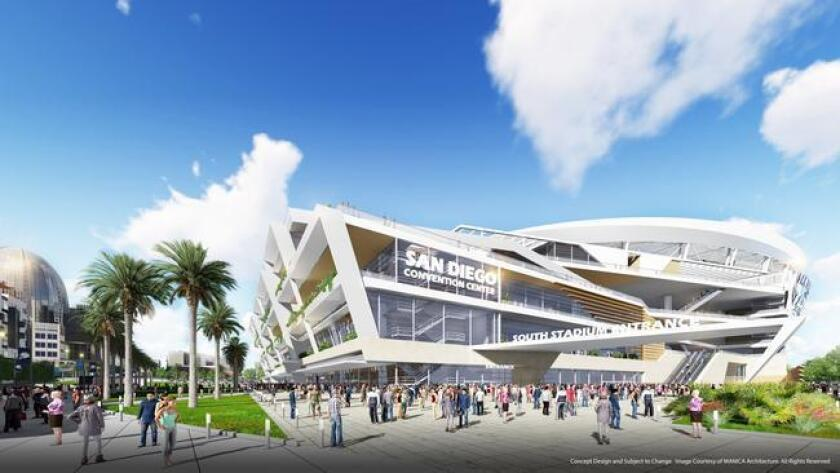 This rendering shows the view from the southwest of the proposed Chargers stadium for downtown.