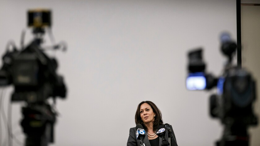Kamala Harris at an event for faith leaders from Southern California in mid-September.