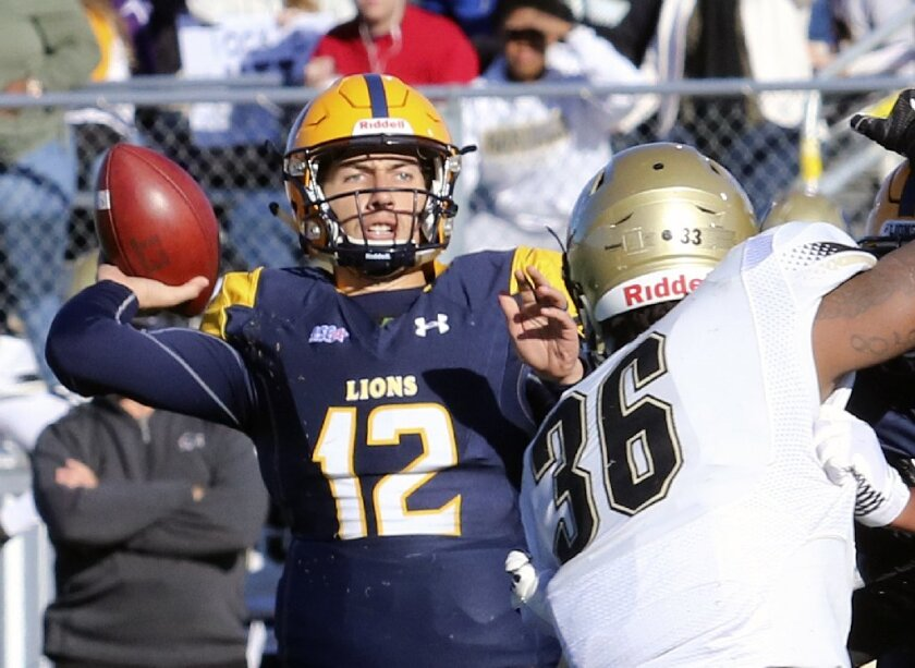 Texas A&M-Commerce quarterback Luis Perez (12) throws under pressure from Harding defender Shedrick Robinson during an NCAA Division II college football game in Commerce, Texas, Saturday, Dec. 9, 2017.