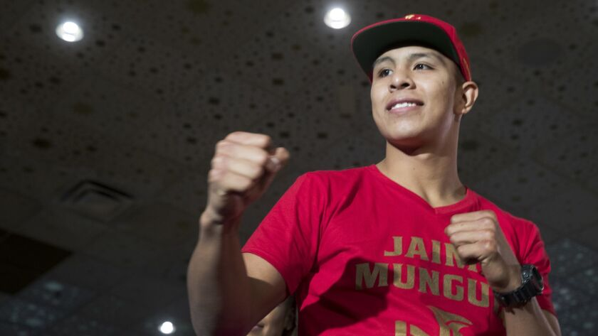 Undefeated WBO junior middleweight champion Jaime Munguia of Mexico poses in the lobby of the MGM Gr