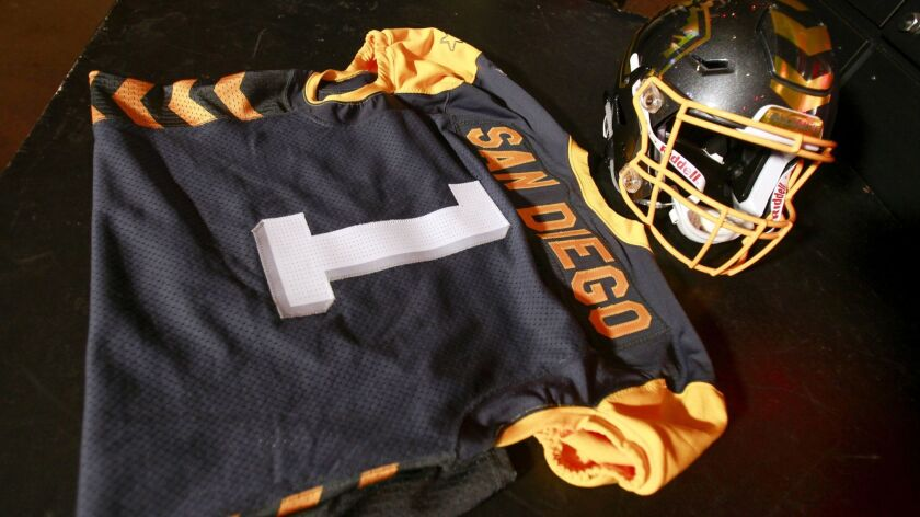 SAN DIEGO, November 27, 2018 | The helmet and jersey for the San Diego Fleet football team after the