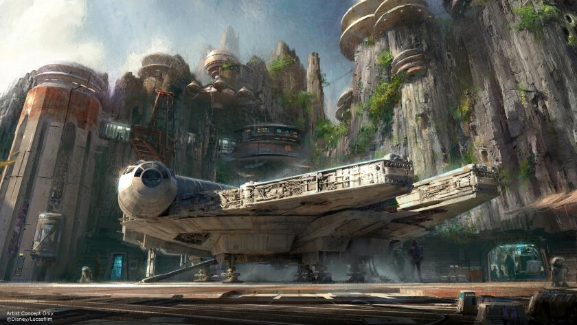 A rendering of Star Wars: Galaxy's Edge, an attraction that opens at Disneyland in Anaheim on May 31. To visit in its first three weeks, people need reservations.
