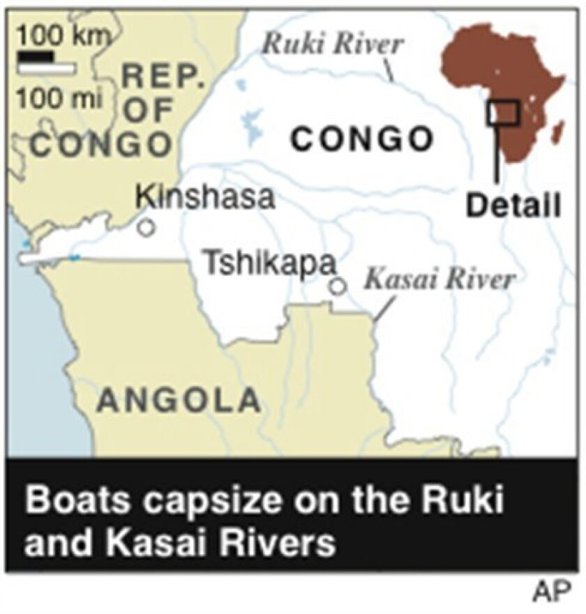 Map locates the Ruki and Kasai Rivers where boats sank in the Congo
