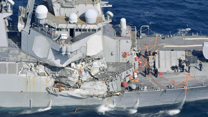 Damage to the Navy destroyer Fitzgerald after it collided with a merchant ship in June.