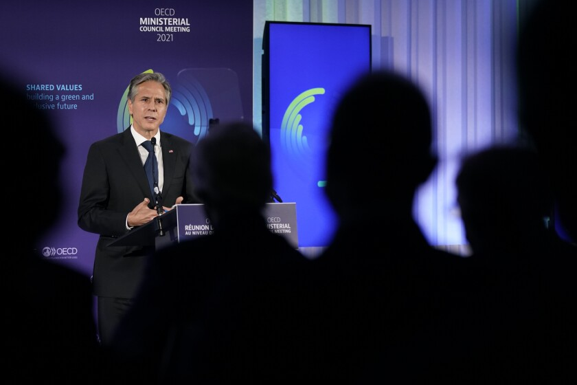 Secretary of State Antony Blinken delivers a keynote address at the Organization for Economic Cooperation and Development's Ministerial Council Meeting, Tuesday, Oct. 5, 2021, in Paris. (AP Photo/Patrick Semansky, Pool)
