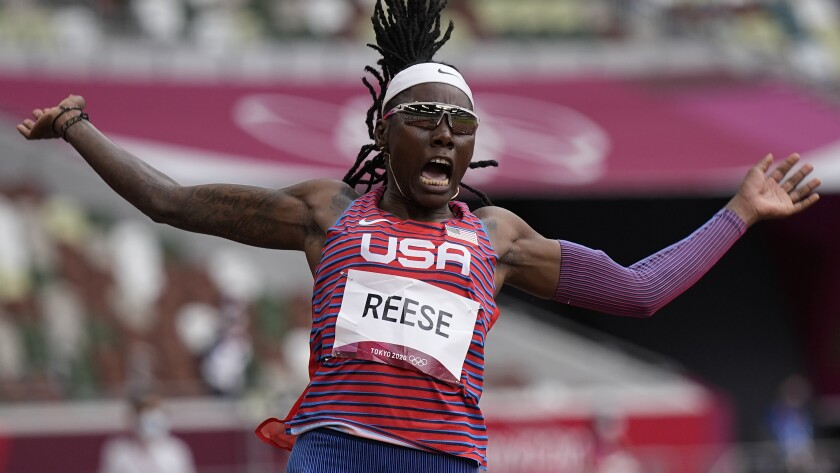 Brittney Reese, of the United States, competes in the women's long jump.