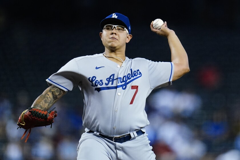 Los Angeles Dodgers starting pitcher Julio Urias throws a