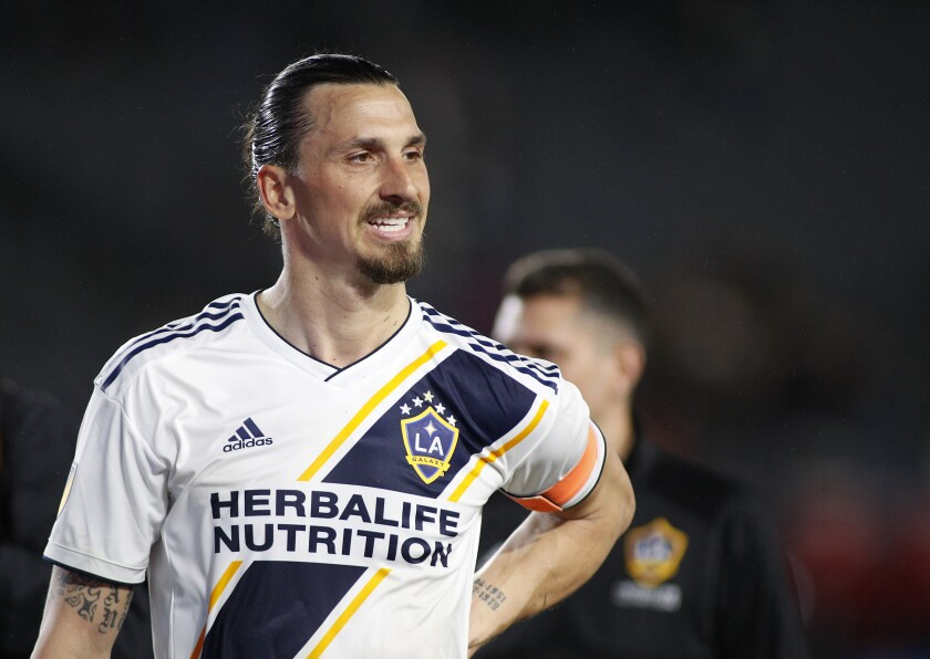 CARSON, CALIFORNIA - MARCH 02: Zlatan Ibrahimovic #9 of Los Angeles Galaxy leaves the field after defeating the Chicago Fire at Dignity Health Sports Park on March 02, 2019 in Carson, California. (Photo by Meg Oliphant/Getty Images) ** OUTS - ELSENT, FPG, CM - OUTS * NM, PH, VA if sourced by CT, LA or MoD **
