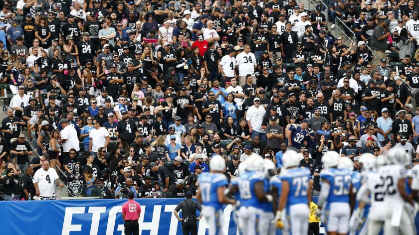 Fans of the opposing team, in this case the Oakland Raiders, help fill the stadium during games against the Chargers at StubHub Center in Carson.