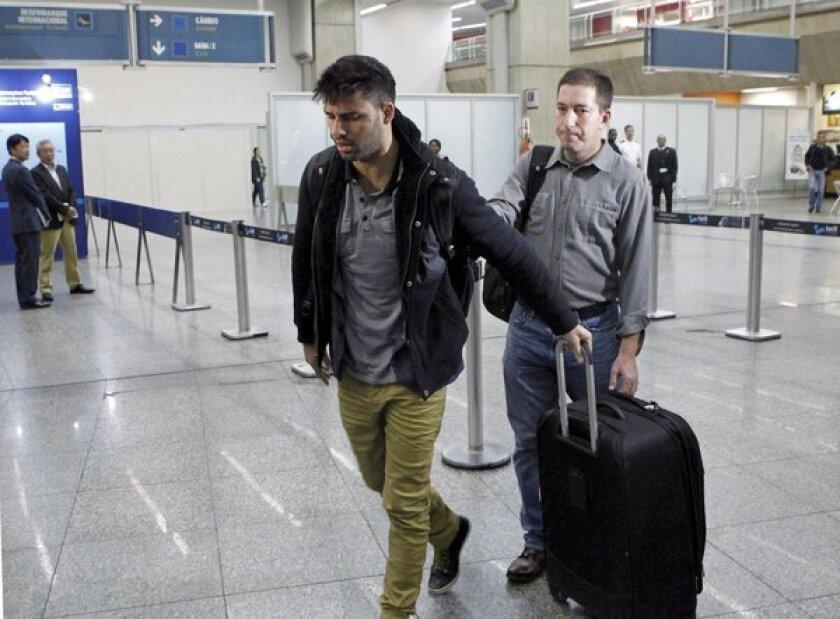 David Miranda, the Brazilian partner of Glenn Greenwald, a journalist who worked with intelligence leaker Edward Snowden, seen at Rio de Janeiro's Tom Jobim international airport.