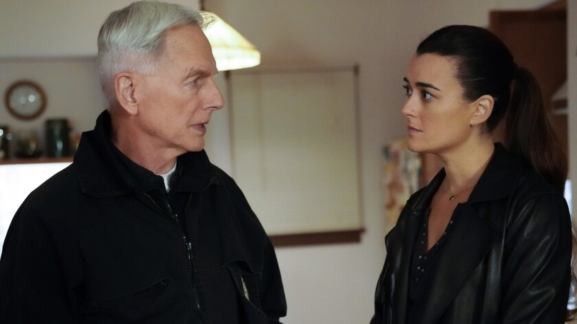 "Mark Harmon and Cote de Pablo in ""NCIS"" on CBS."