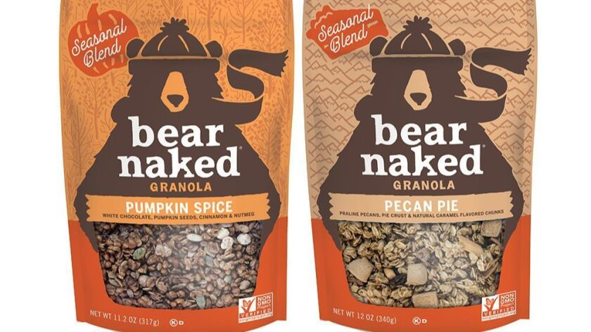 Pumpkin Spice and Pecan Pie are season flavors of Bear Naked granola.