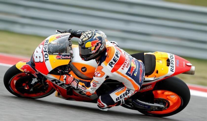 El español del equipo Repsol Honda de Moto GP Dani Pedrosa pilota su moto durante una sesión de entrenamientos libres para el Gran Premio de Austin que se disputa en el Circuito de Las Américas, en Austin, Texas, EE.UU., hoy 20 de abril del 2018. EFE