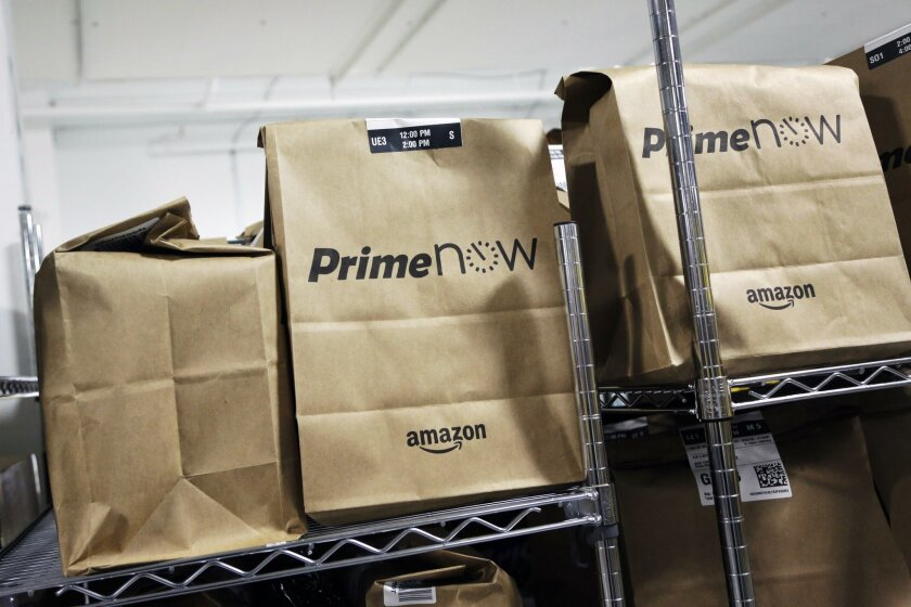 Amazon Prime Now expands to offer San Diegans food delivery from nearly 100 area eateries.