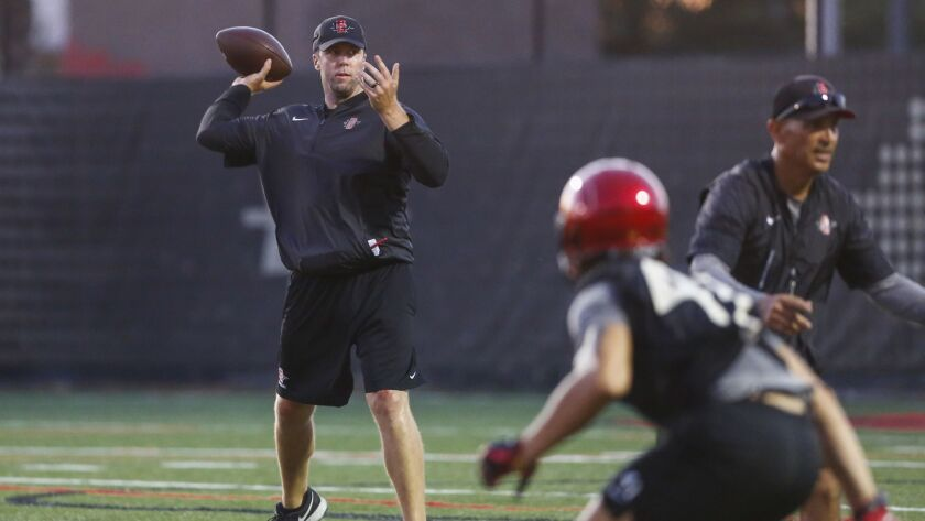 San Diego State graduate assistant Ryan Lindley, a former SDSU quarterback, throws passes during a practice drill in fall workouts.