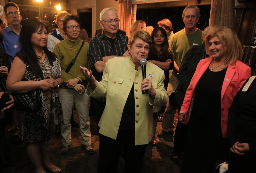 Los Angeles County supervisor candidate Sheila Kuehl speaks with supporters at an election night party Nov. 4 in Santa Monica.