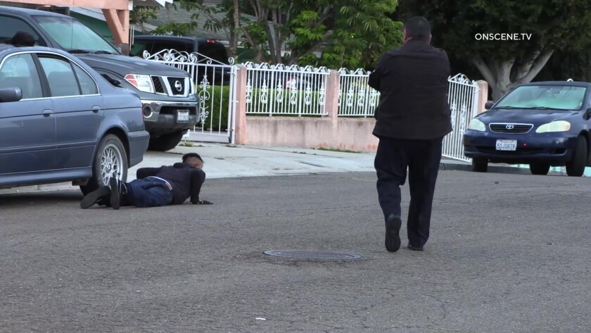 National City Police Chief Jose Tellez points gun at suspect prone on the street