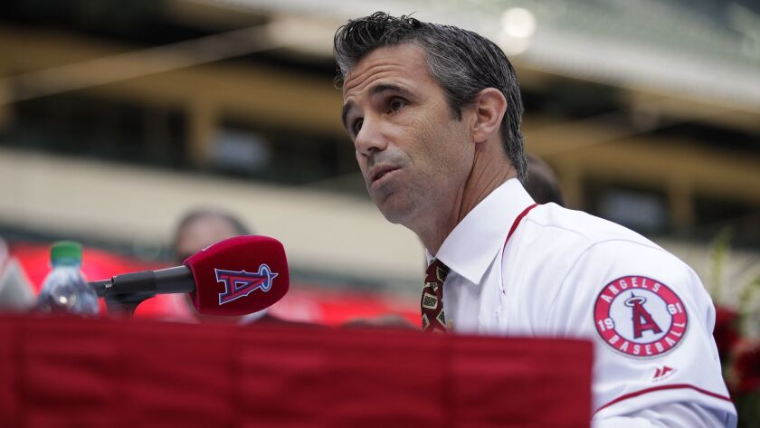 New Angels manager Brad Ausmus speaks during a news conference on Oct. 22 in Anaheim.