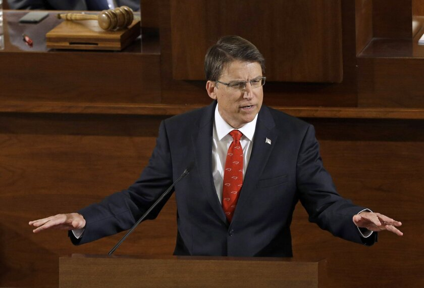 FILE - In this Feb. 4, 2015 file photo, Gov. Pat McCrory delivers his State of the State address to a joint session of the General Assembly in Raleigh, N.C.  McCrory sustained minor injuries on Sunday, Feb. 7, 2016,  after the vehicle he was riding in was rear-ended shortly after the Carolina Panth