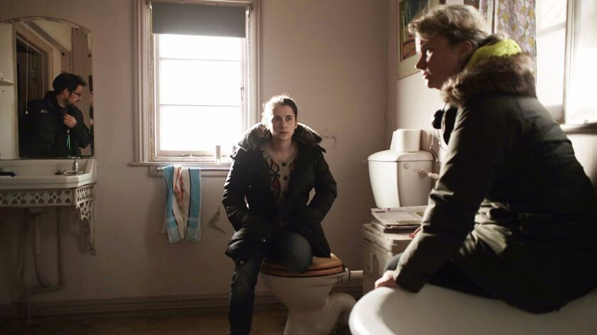 """On the set of """"The Levelling,"""" from right, director Hope Dickson Leach, star Ellie Kendrick, center"""
