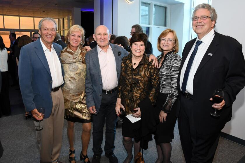 Bob and Ann Dynes (he's a former chancellor), Peter Farrell, Judge Margaret McKeown, Sandra Brown (research vice-chancellor), Peter Cowhey (executive vice-chancellor)