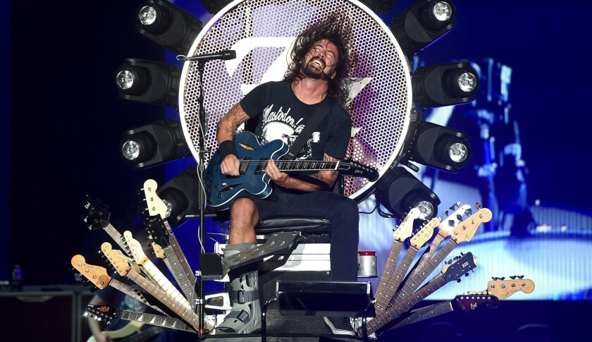Dave Grohl of Foo Fighters performs Monday night at the Forum in Inglewood.