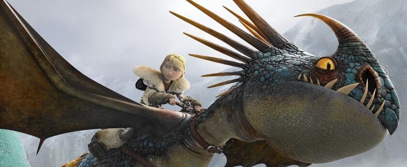 "Astrid (America Ferrara) rides her faithful dragon in ""How to Train Your Dragon 2."""