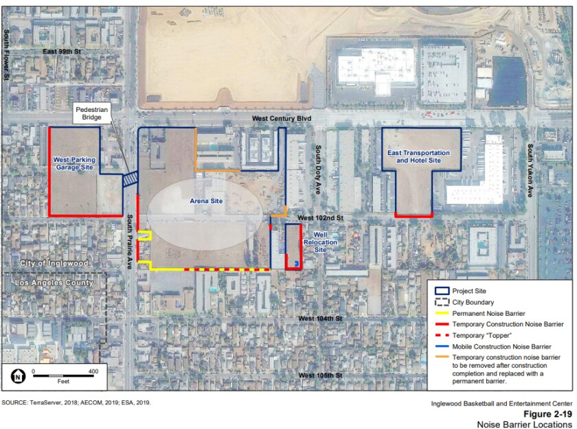 Noise barrier locations (highlighted) for proposed Clippers arena in Inglewood.