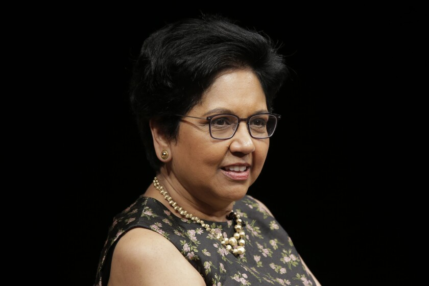 """FILE - Indra Nooyi participates in an event on Oct. 9, 2018, in New York. The former PepsiCo CEO has a memoir titled """"My Life in Full: Work, Family and Our Future"""" coming out Sept. 28, 2021. (AP Photo/Seth Wenig, File)"""