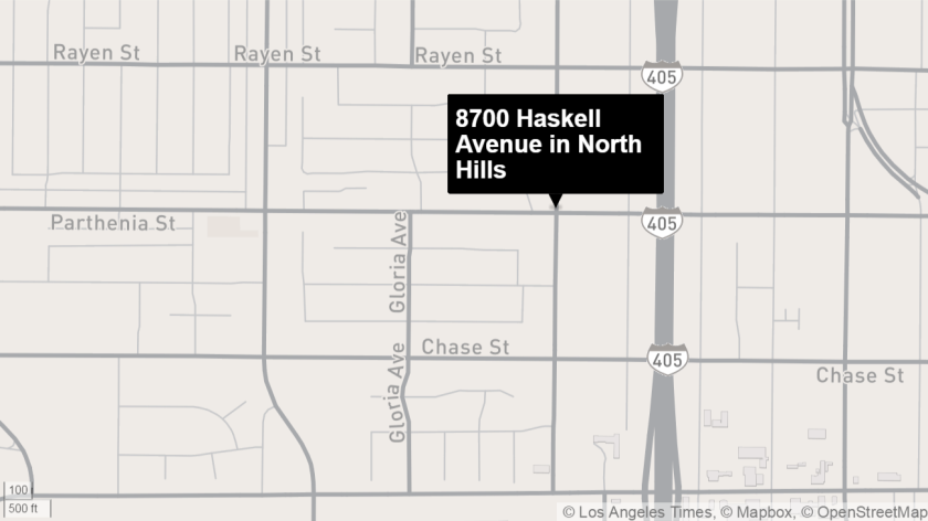 Nine people were injured in a two-vehicle crash that occurred near Haskell Avenue and Parthenia Street in North Hills, authorities said.