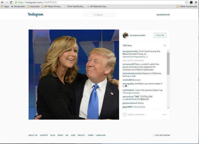 """CLARIFIES THAT THIS IS THE ORIGINAL INSTAGRAM POST - This photo obtained from the Instagram account of Lara Spencer shows Spencer, a co-anchor on """"Good Morning America,"""" with Republican presidential candidate Donald Trump on the set in New York, on Tuesday, Nov. 3, 2015. Spencer has one arm around"""