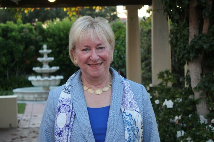 Martha Dennis after her speech at the La Jolla Woman's Club Aug. 18.