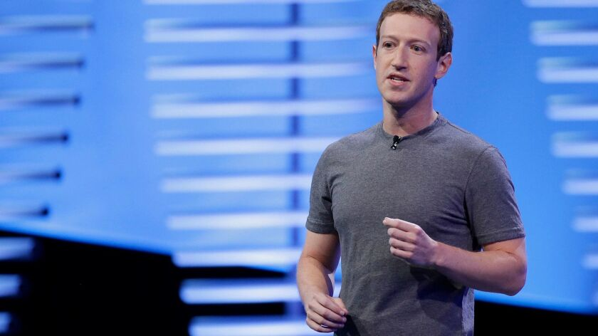 Facebook Chief Executive Mark Zuckerberg speaks during the keynote address at the F8 Facebook Developer Conference in San Francisco in 2016.