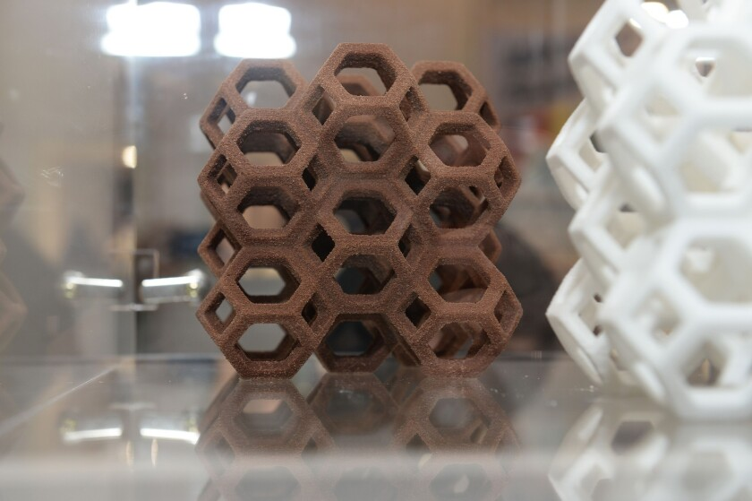 A chocolate confection made in the ChefJet Pro 3D food printer by 3D Systems, which has entered a multi-year partnership with Hershey.