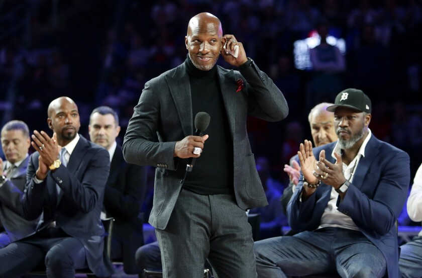 Chauncey Billups addresses fans at Little Caesars Arena in April 2019.