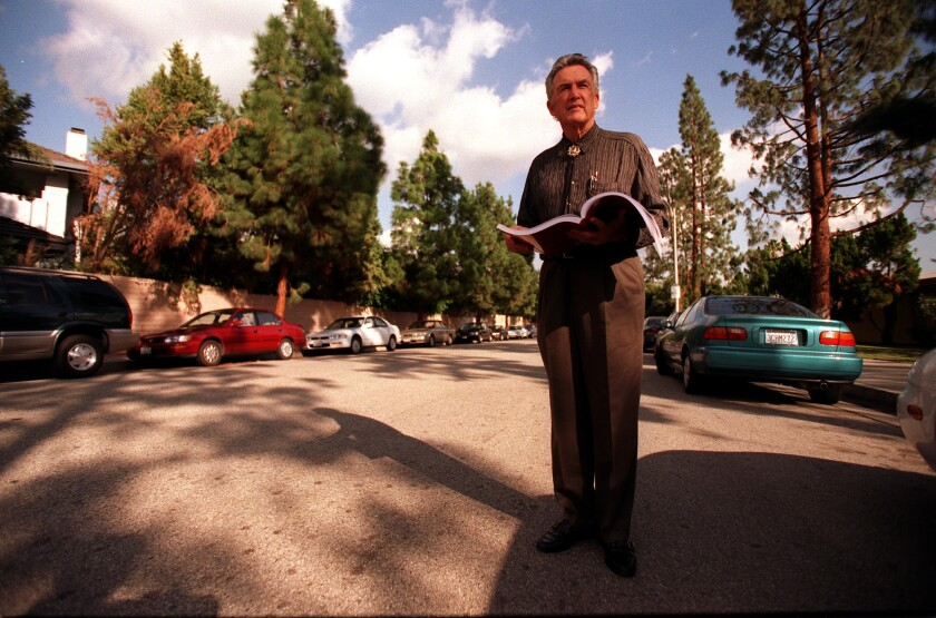 Dion Neutra, son of Richard Neutra, visits a Northridge street in 1999. One of his father's homes once stood nearby.