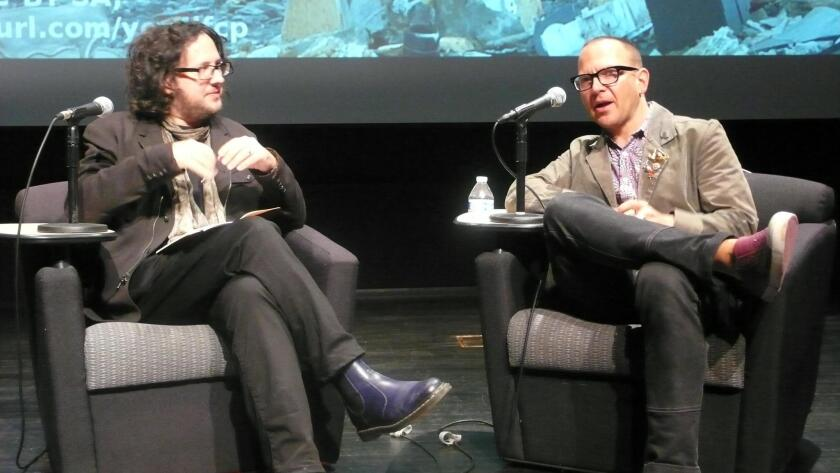 Michael Triligio with Cory Doctorow share their thoughts on the possible future of the world, during a talk Feb. 9, 2018 at UC San Diego's Calit2 (California Institute for Telecommunications and Information Technology).