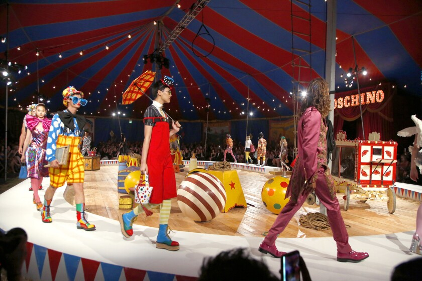 The finale of Moschino's circus-themed runway show presented on June 8, 2018, at the L.A. Equestrian Center in Burbank, the third time creative director Jeremy Scott has presented the collections together in Southern California.