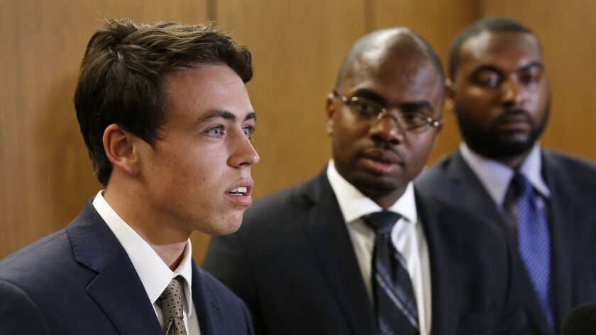 LOS ANGELES, CA - JULY 23, 2018: Cameron Terrell, the former Palos Verdes High School student accuse