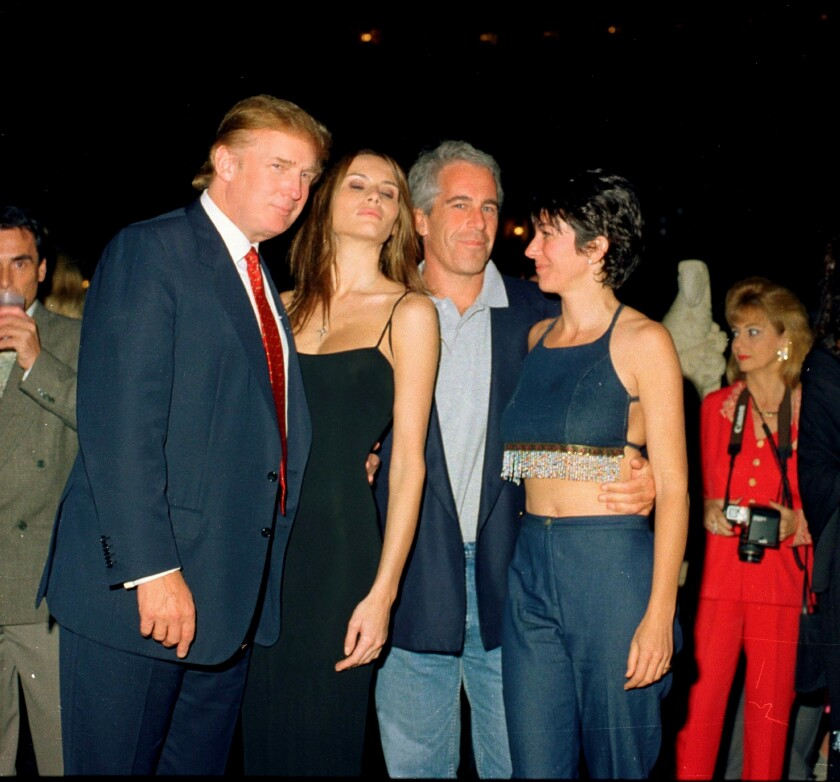 Donald Trump in 2000 with, from left, his then-girlfriend Melania Knauss, Jeffrey Epstein and Ghislaine Maxwell.