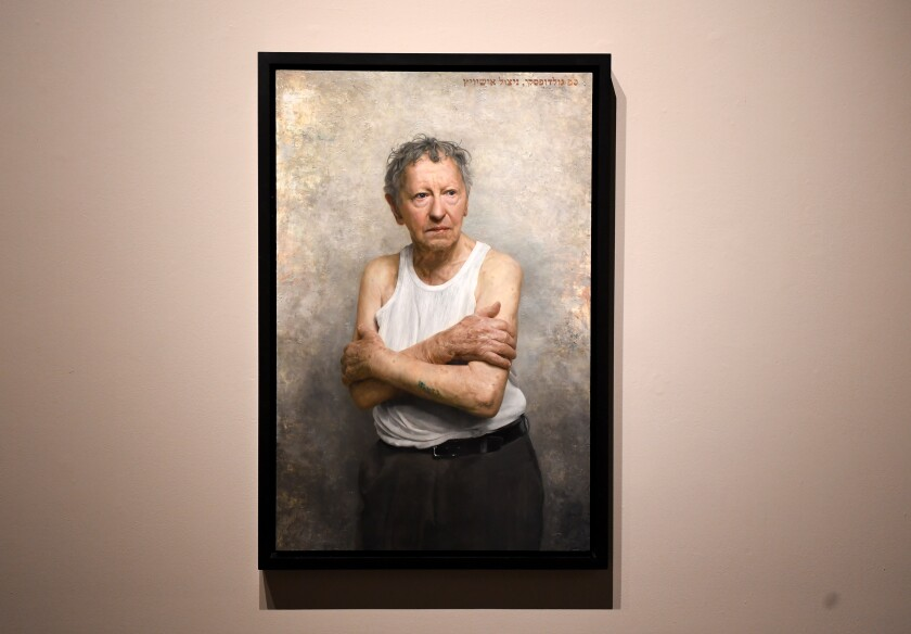 """A painting titled """"Survivor of the Shoah"""" at the exhibition """"Facing Survival"""" at the USC Fisher Museum of Art."""