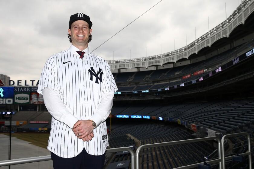 Yankees pitcher Gerrit Cole stands in Yankee Stadium.