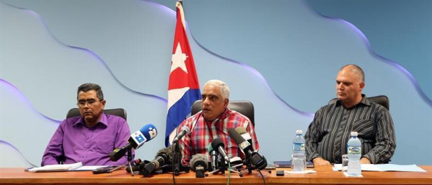 Cuban officials hold a press conference in Havana on Friday, Jan. 11, to discuss the investigation into a deadly bus crash. EFE-EPA/Ernesto Mastrascusa