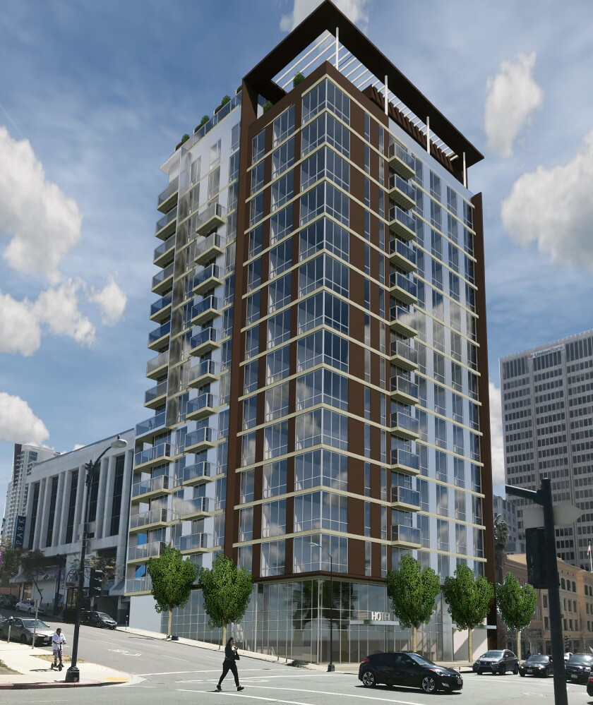 Rendering of 16-story hotel to be built at Fifth and Ash in downtown San Diego