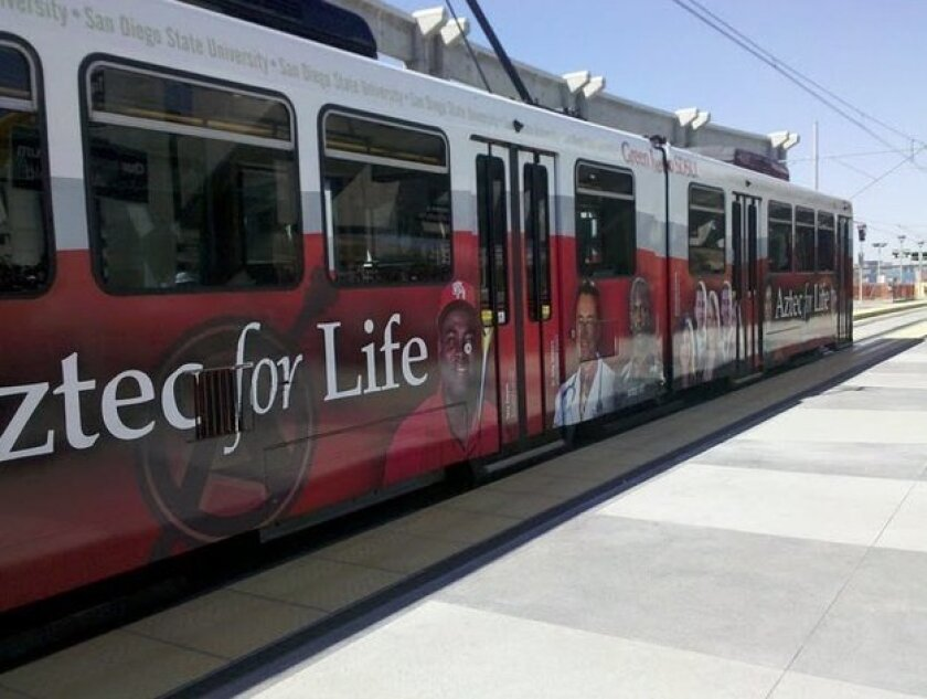 Aztec for Life is promoted on the San Diego trolley's green line. Photo: SDSU