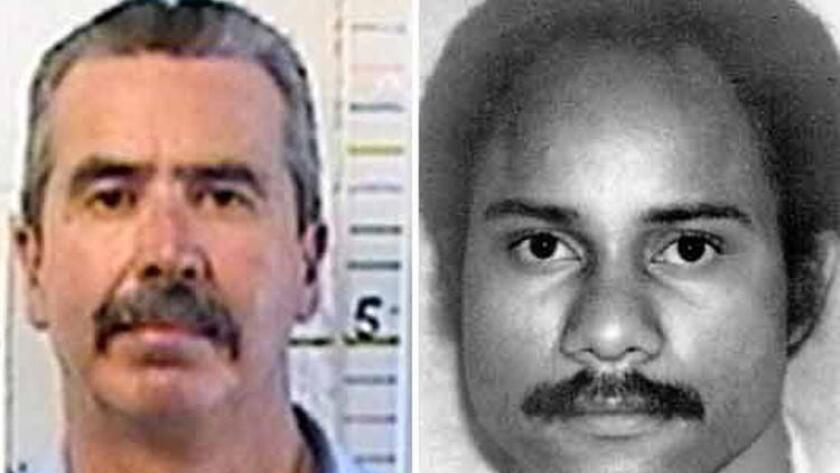 At left is a fairly recent photo of Jesus Salvador Cecena, who killed San Diego police Officer Archie Buggs, right, in 1978 during a traffic stop.